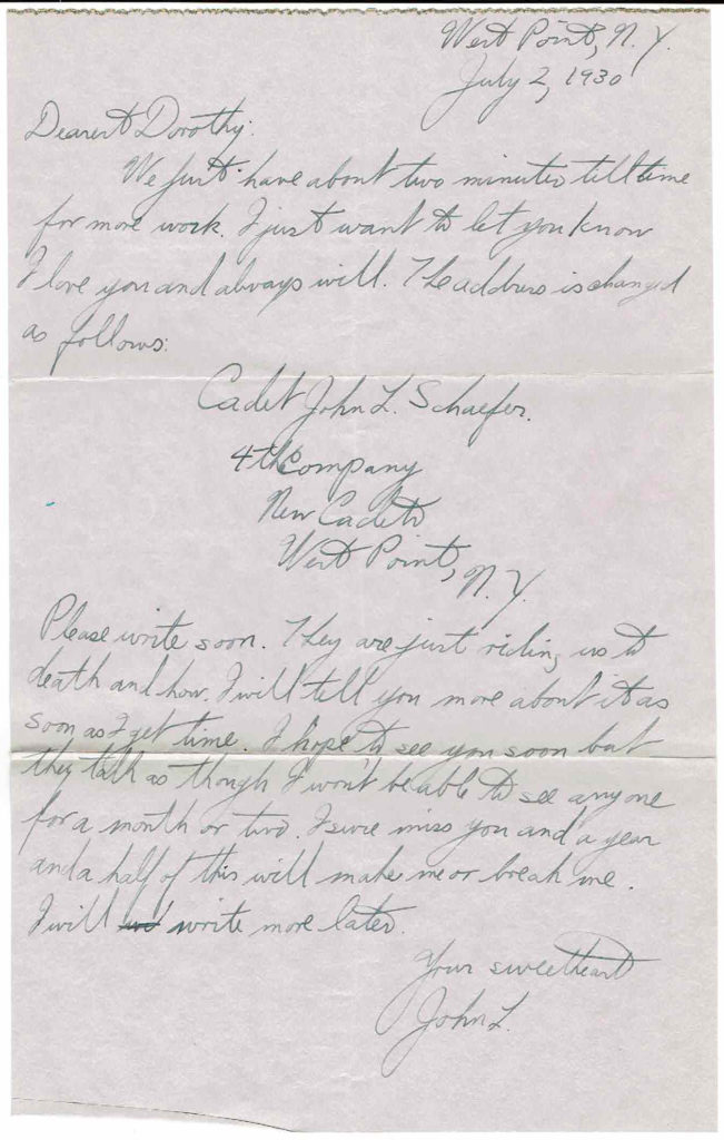 The first letter in the series from John L. Schaefer at West Point