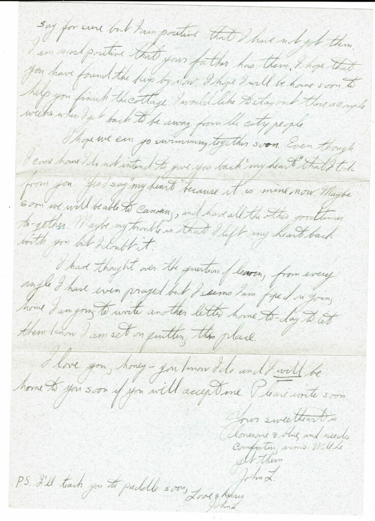 Letter from John L. Schaefer to Dorothy Wilson, continued